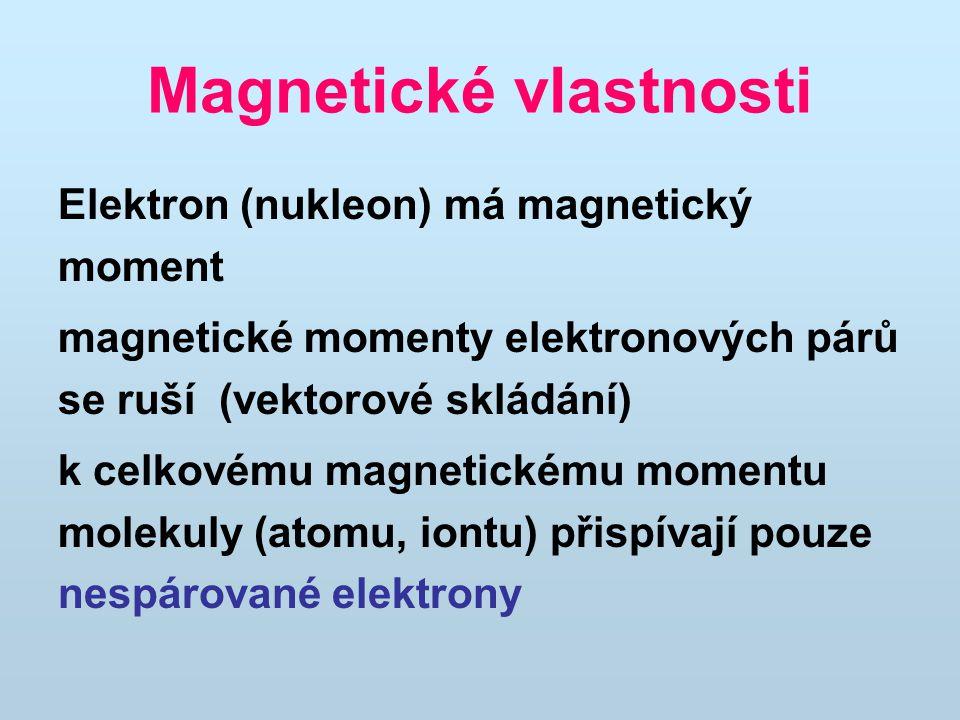 Magnetické vlastnosti Elektron (nukleon) má magnetický moment magnetické momenty elektronových párů se ruší (vektorové skládání) k celkovému magnetick