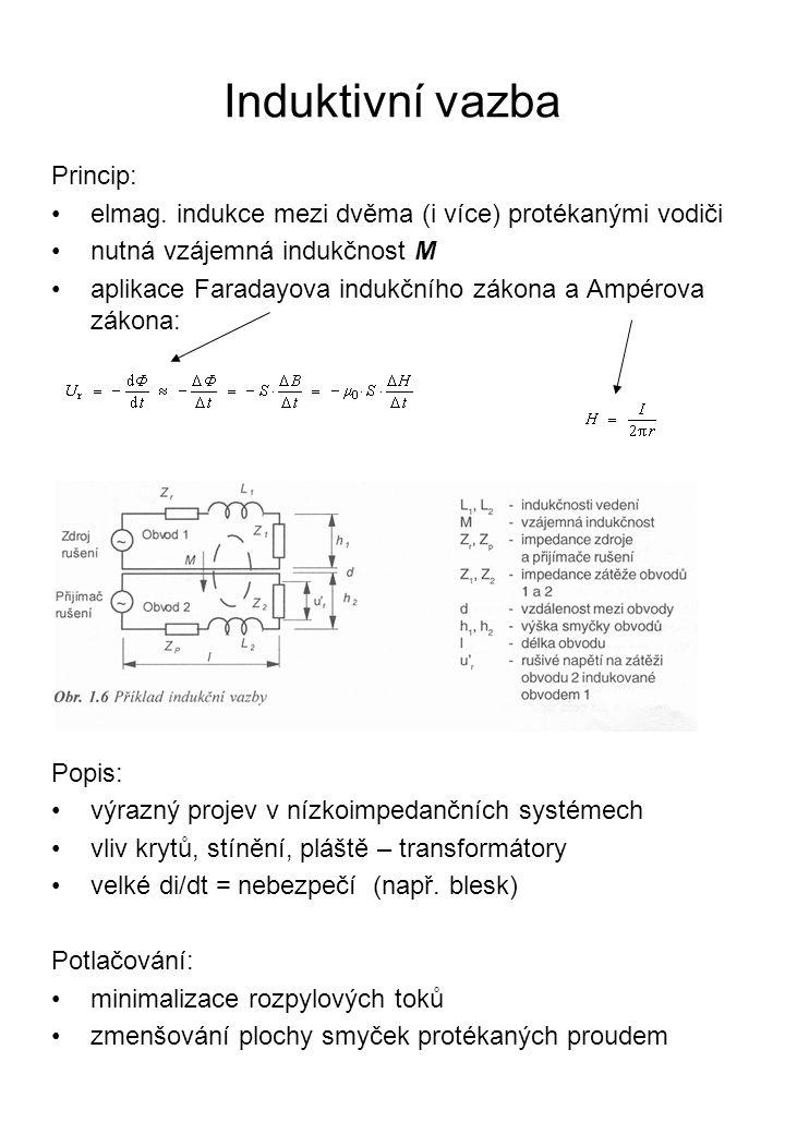 Induktivní vazba Princip: elmag. indukce mezi dvěma (i více) protékanými vodiči nutná vzájemná indukčnost M aplikace Faradayova indukčního zákona a Am