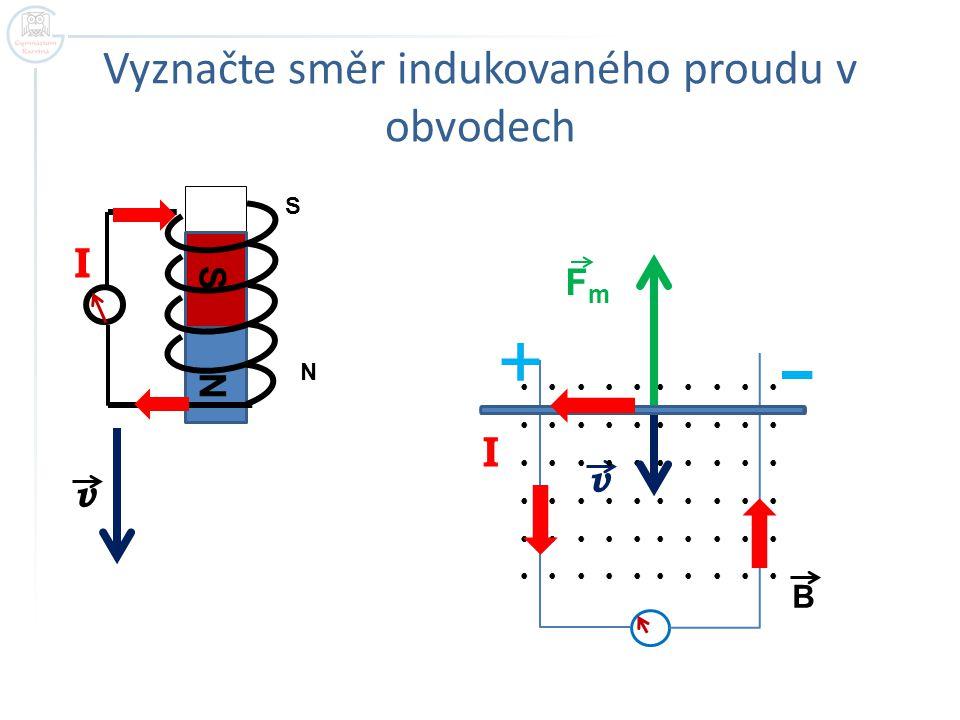 v B S N Vyznačte směr indukovaného proudu v obvodech v S N I FmFm I +