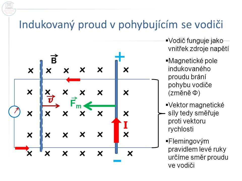 Indukovaný proud v pohybujícím se vodiči x x x v FmFm I +  Vodič funguje jako vnitřek zdroje napětí  Magnetické pole indukovaného proudu brání pohyb