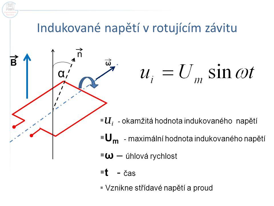 Indukované napětí v rotujícím závitu B α n ω  U i - okamžitá hodnota indukovaného napětí  U m - maximální hodnota indukovaného napětí  ω – úhlová r