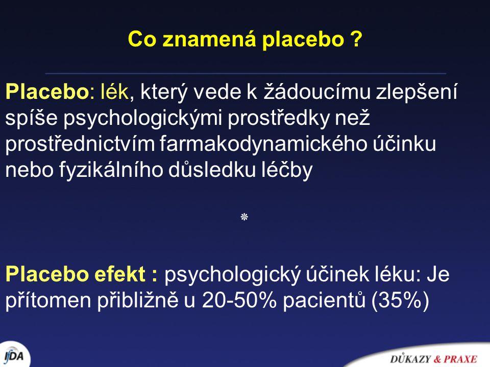 """Beecher HK : The Powerful Placebo JAMA 159, 1602-6, 1955 """"Je průkazné, že placeba mají vysoký stupeň terapeutické účinnosti u subjektivních odpovědí; rozhodné zlepšení, které je při neznalosti mechanismu interpretováno jako skutečný terapeutický efekt, je patrné u 35,2 +/- 2,2% případů"""