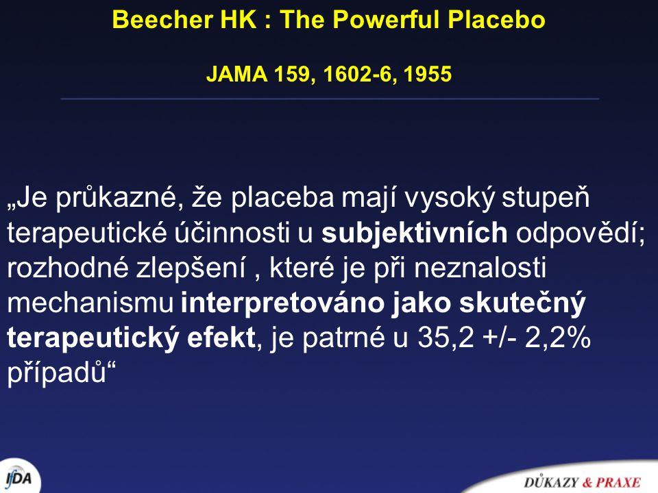Různé teorie placebo efektu  Podvod v zájmu lékaře  Sugesce v zájmu pacienta  Nespecifický účinek léku nebo léčebné intervence  Regrese k průměru- artefakt měření  Ovlivnění chorobného stavu vzájemným vztahem a očekáváním