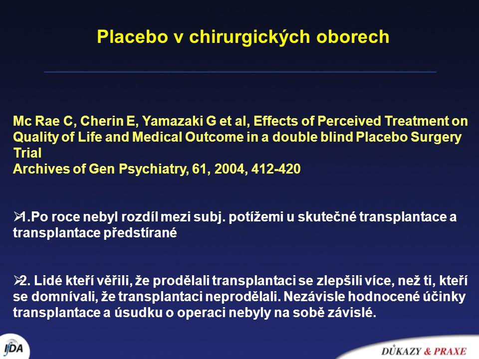 Biochemické účinky placeba Grevert P., Albert LH, Goldstein A Partial antagonism of placebo analgesia by naloxone Pain, 16, 1983, 129-43 Lippman JJ, Miller BE, Mays KS et al.