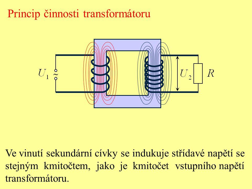 ~ Princip činnosti transformátoru Ve vinutí sekundární cívky se indukuje střídavé napětí se stejným kmitočtem, jako je kmitočet vstupního napětí trans