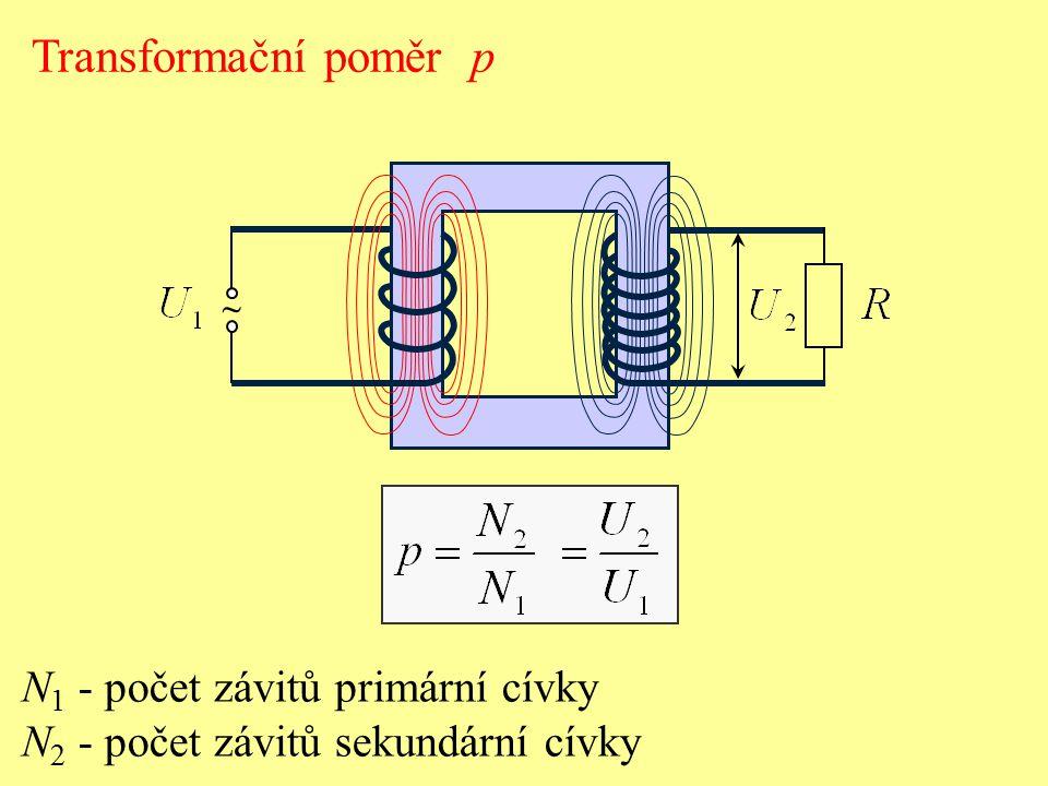 ~ Transformační poměr p N 1 - počet závitů primární cívky N 2 - počet závitů sekundární cívky