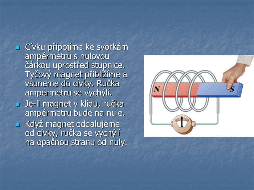 Nyní bude magnet v klidu a cívku budeme přibližovat k severnímu pólu magnetu.