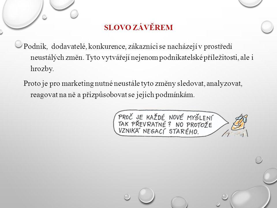SLOVO ZÁVĚREM Podnik, dodavatelé, konkurence, zákazníci se nacházejí v prostředí neustálých změn. Tyto vytvářejí nejenom podnikatelské příležitosti, a