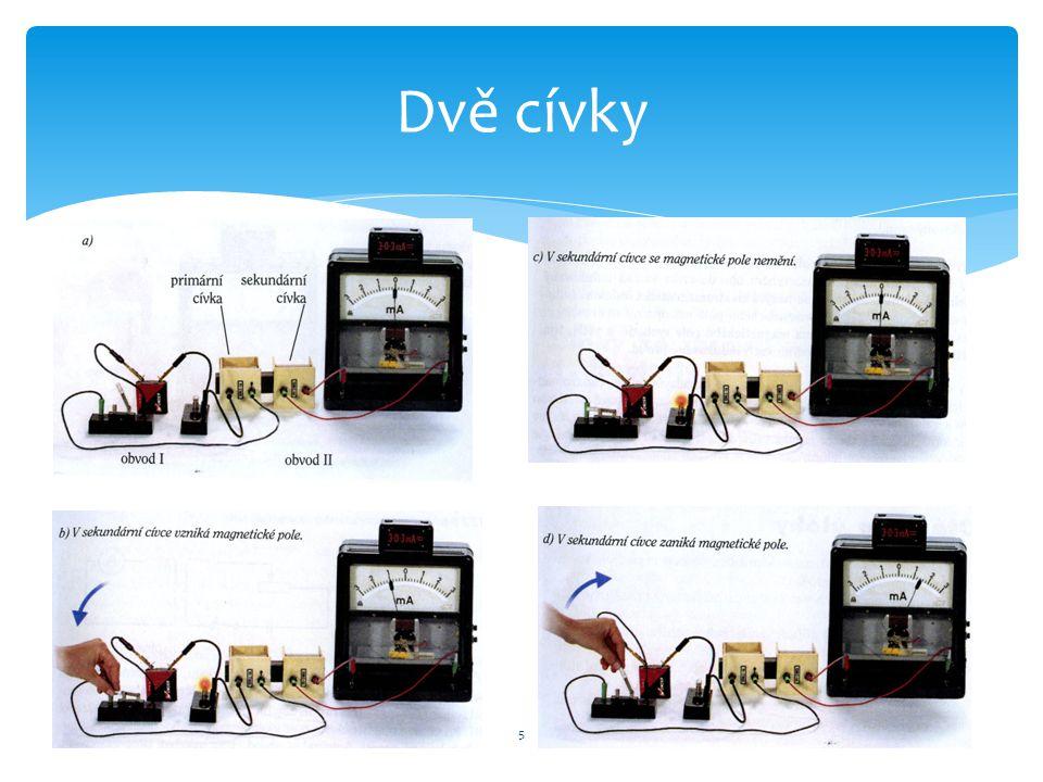 PRIMÁRNÍ cívka – se zdrojem elektrického napětí SEKUNDÁRNÍ cívka – bez zdroje - obě cívky na společném jádře V primární cívce otevíráme a uzavíráme obvod, sekundární cívkou prochází indukovaný proud.