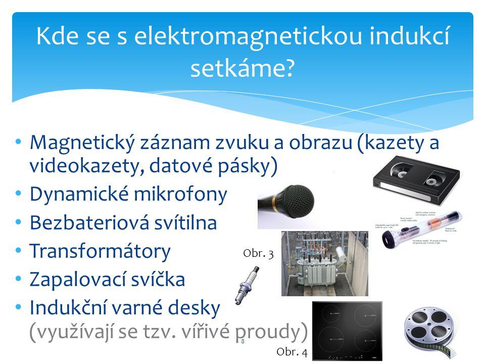Magnetický záznam zvuku a obrazu (kazety a videokazety, datové pásky) Dynamické mikrofony Bezbateriová svítilna Transformátory Zapalovací svíčka Induk