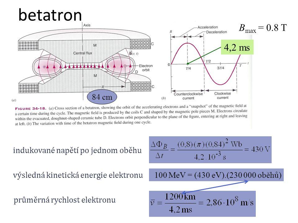B max = 0.8 T 4,2 ms 84 cm indukované napětí po jednom oběhu výsledná kinetická energie elektronu 100 MeV = (430 eV).(? oběhů) průměrná rychlost elekt