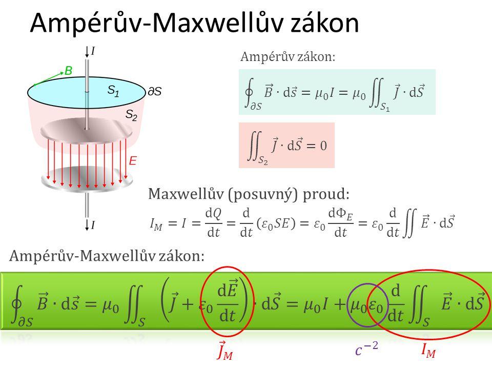 Ampérův zákon: Ampérův-Maxwellův zákon Ampérův-Maxwellův zákon: Maxwellův (posuvný) proud: