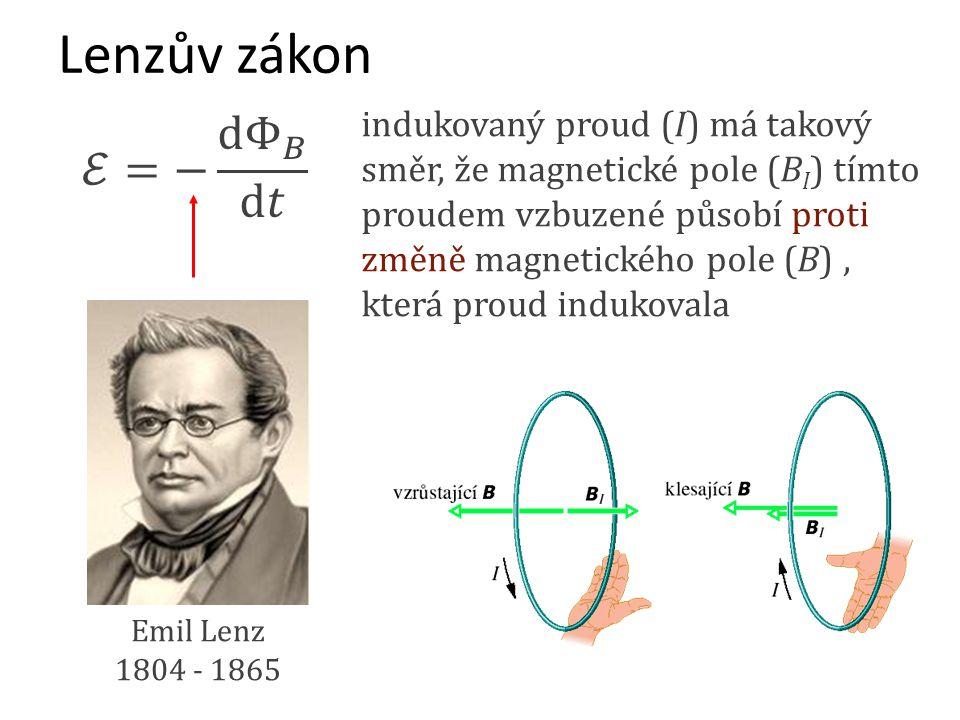 Emil Lenz 1804 - 1865 Lenzův zákon indukovaný proud (I) má takový směr, že magnetické pole (B I ) tímto proudem vzbuzené působí proti změně magnetické