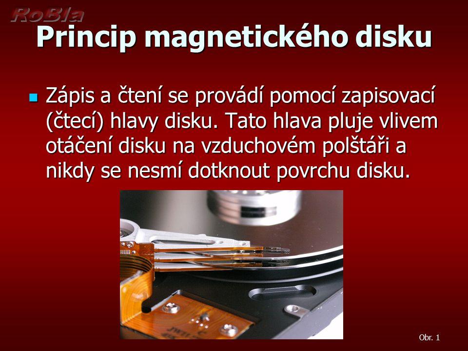 Princip magnetického disku Obr. 1 Zápis a čtení se provádí pomocí zapisovací (čtecí) hlavy disku. Tato hlava pluje vlivem otáčení disku na vzduchovém