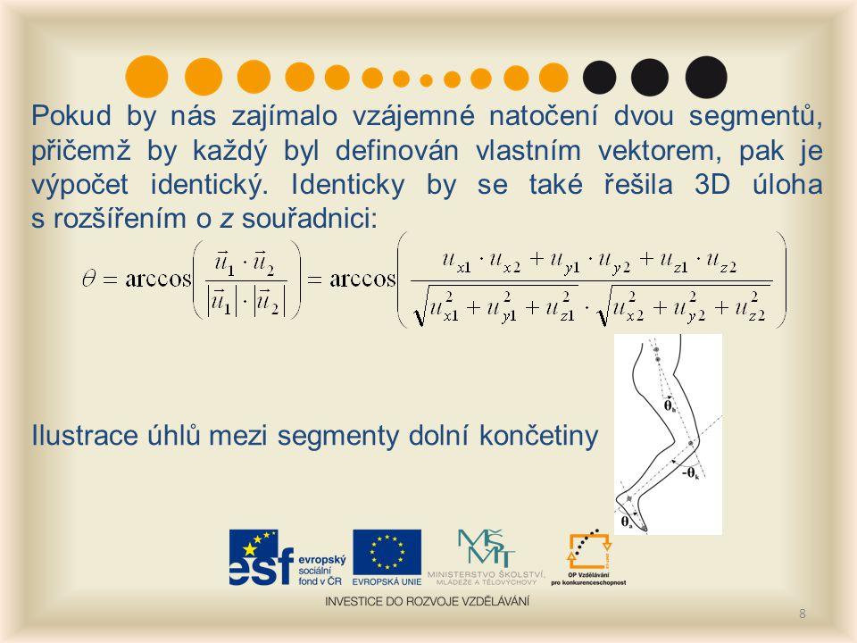 8 Pokud by nás zajímalo vzájemné natočení dvou segmentů, přičemž by každý byl definován vlastním vektorem, pak je výpočet identický.