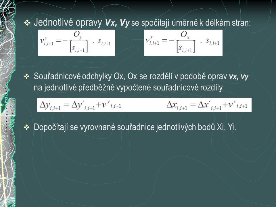  Jednotlivé opravy v x, v y se spočítají úměrně k délkám stran:  Souřadnicové odchylky Ox, Ox se rozdělí v podobě oprav v x, v y na jednotlivé předb