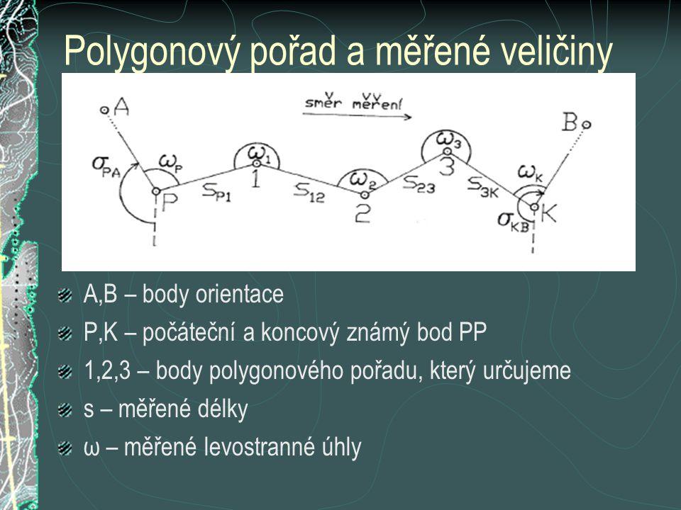 Polygonový pořad a měřené veličiny A,B – body orientace P,K – počáteční a koncový známý bod PP 1,2,3 – body polygonového pořadu, který určujeme s – mě