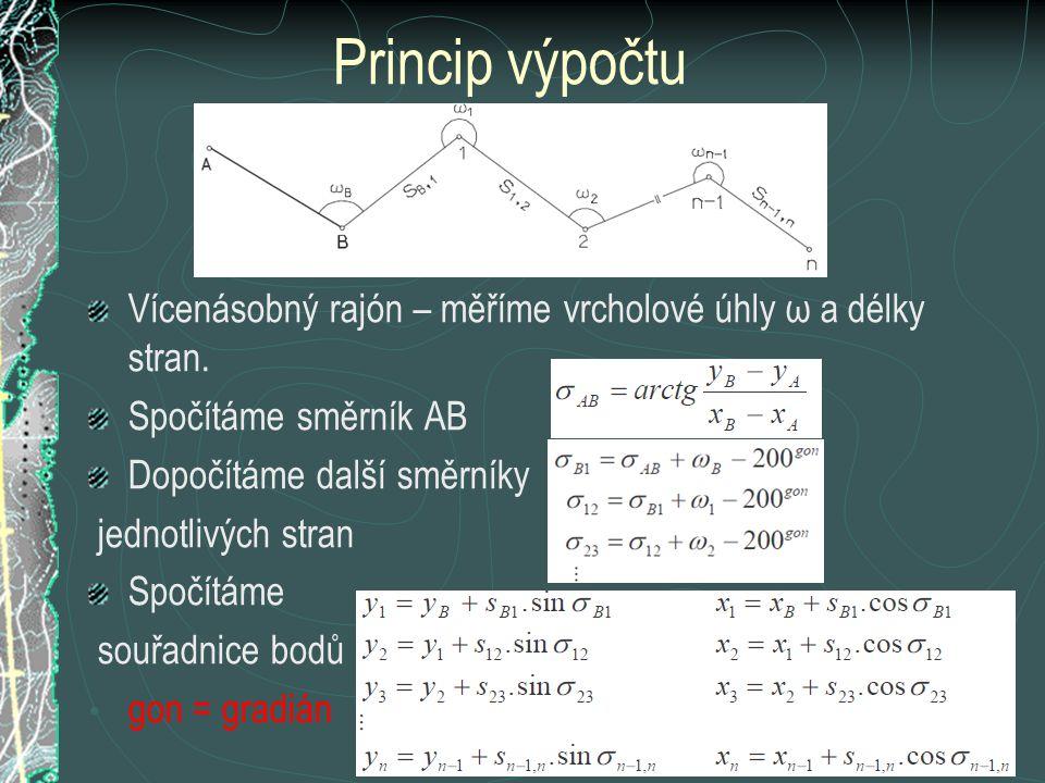 Princip výpočtu Vícenásobný rajón – měříme vrcholové úhly ω a délky stran. Spočítáme směrník AB Dopočítáme další směrníky jednotlivých stran Spočítáme