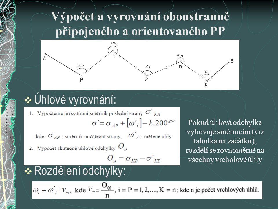 Výpočet a vyrovnání oboustranně připojeného a orientovaného PP  Úhlové vyrovnání:  Rozdělení odchylky: Pokud úhlová odchylka vyhovuje směrnicím (viz
