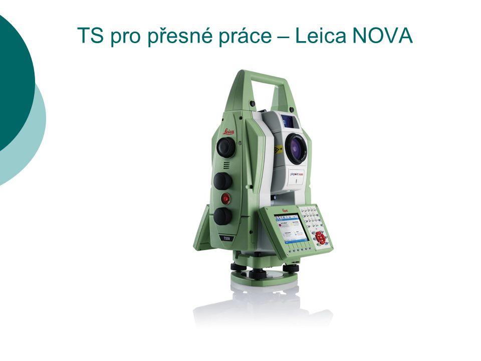 TS pro přesné práce – Trimble S8  FineLock – zúžené zorné pole systému Autolock pro monitoring hranolů osazených velmi blízko od sebe  Úhlová přesnost – 1´´ (0,3mgon)  Přesnost dálkoměru – 1mm + 1ppm