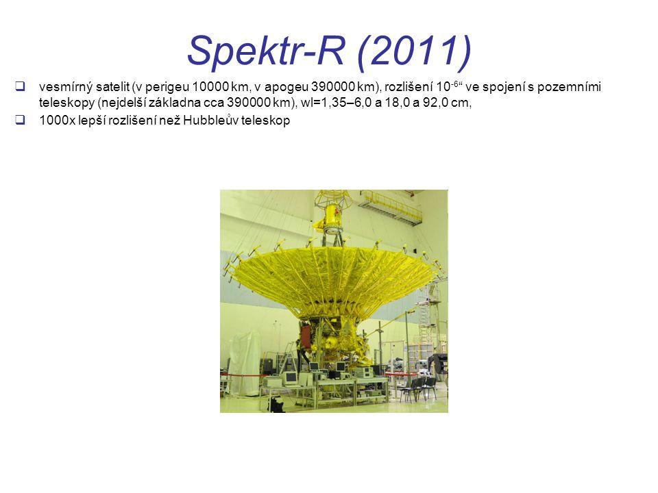 Spektr-R (2011)  vesmírný satelit (v perigeu 10000 km, v apogeu 390000 km), rozlišení 10 -6 ve spojení s pozemními teleskopy (nejdelší základna cca 390000 km), wl=1,35–6,0 a 18,0 a 92,0 cm,  1000x lepší rozlišení než Hubbleův teleskop