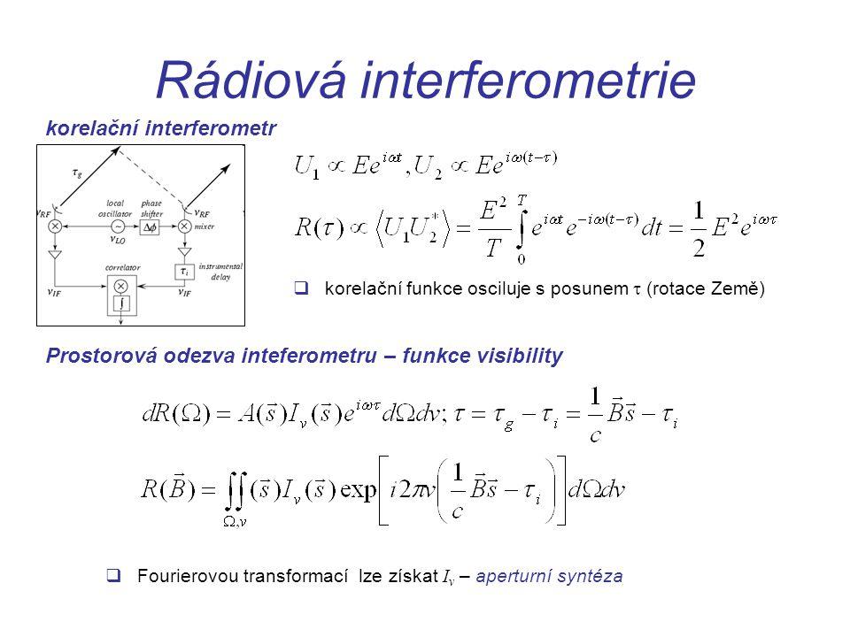 Rádiová interferometrie korelační interferometr Prostorová odezva inteferometru – funkce visibility  korelační funkce osciluje s posunem  (rotace Země)  Fourierovou transformací lze získat I v – aperturní syntéza