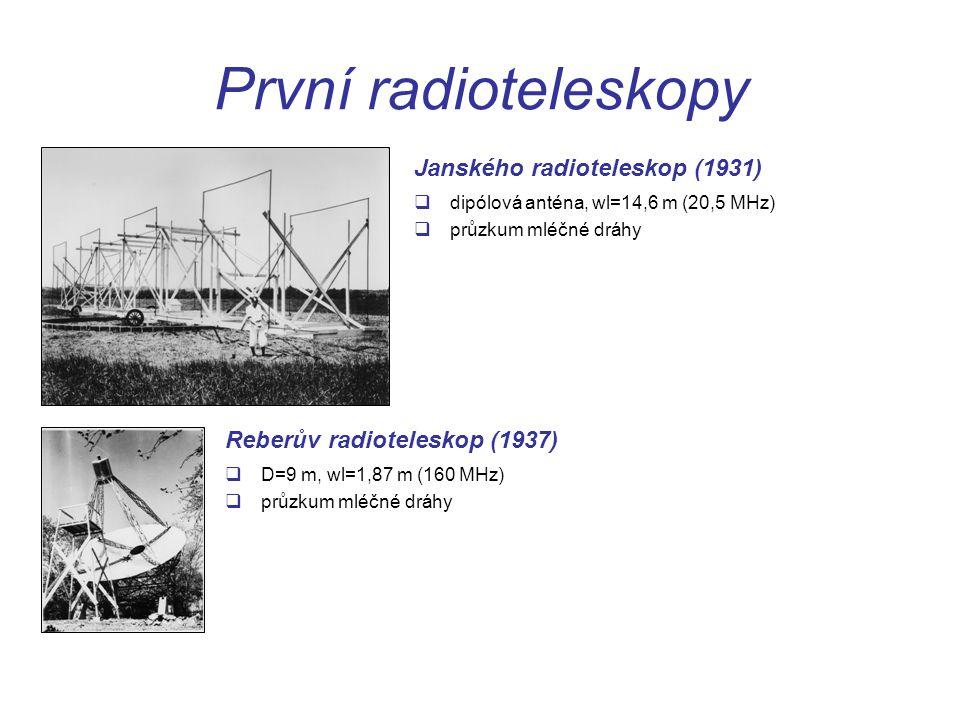 První radioteleskopy  D=9 m, wl=1,87 m (160 MHz)  průzkum mléčné dráhy Reberův radioteleskop (1937)  dipólová anténa, wl=14,6 m (20,5 MHz)  průzkum mléčné dráhy Janského radioteleskop (1931)