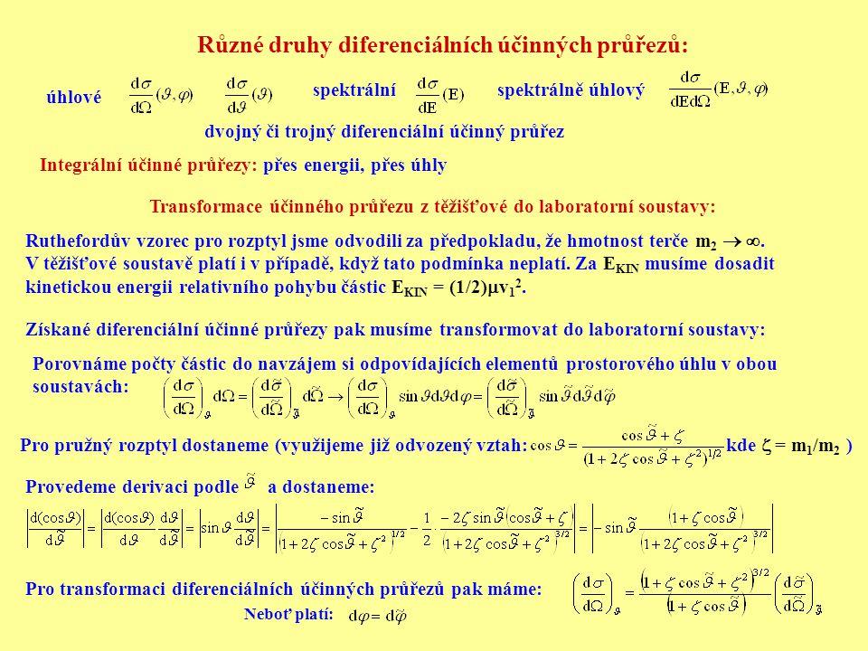Různé druhy diferenciálních účinných průřezů: úhlové spektrálníspektrálně úhlový dvojný či trojný diferenciální účinný průřez Integrální účinné průřez