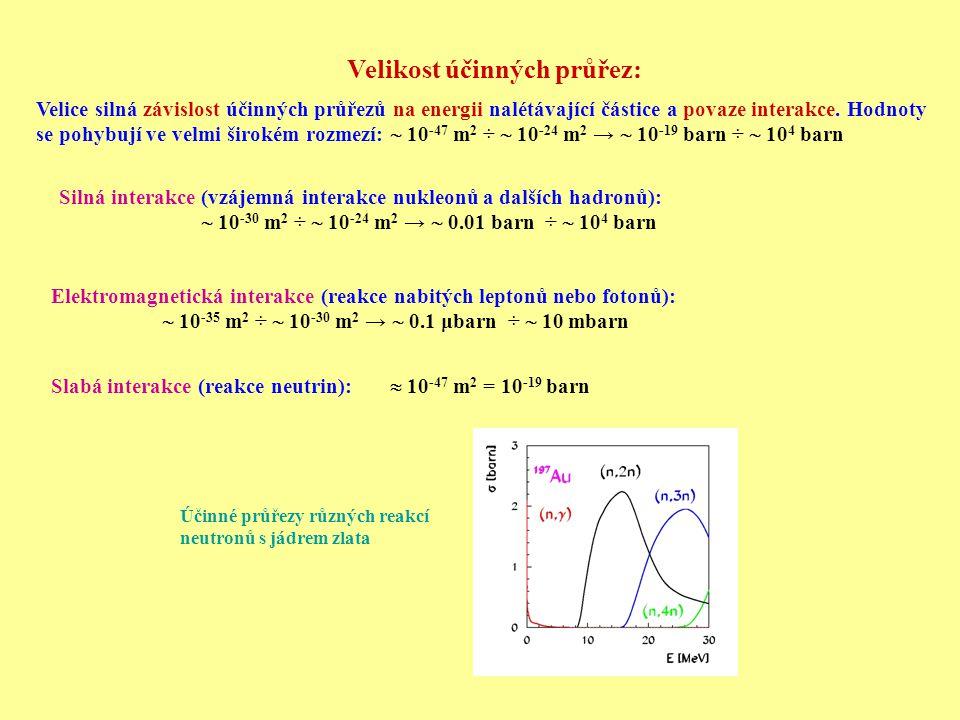 Velikost účinných průřez: Velice silná závislost účinných průřezů na energii nalétávající částice a povaze interakce. Hodnoty se pohybují ve velmi šir