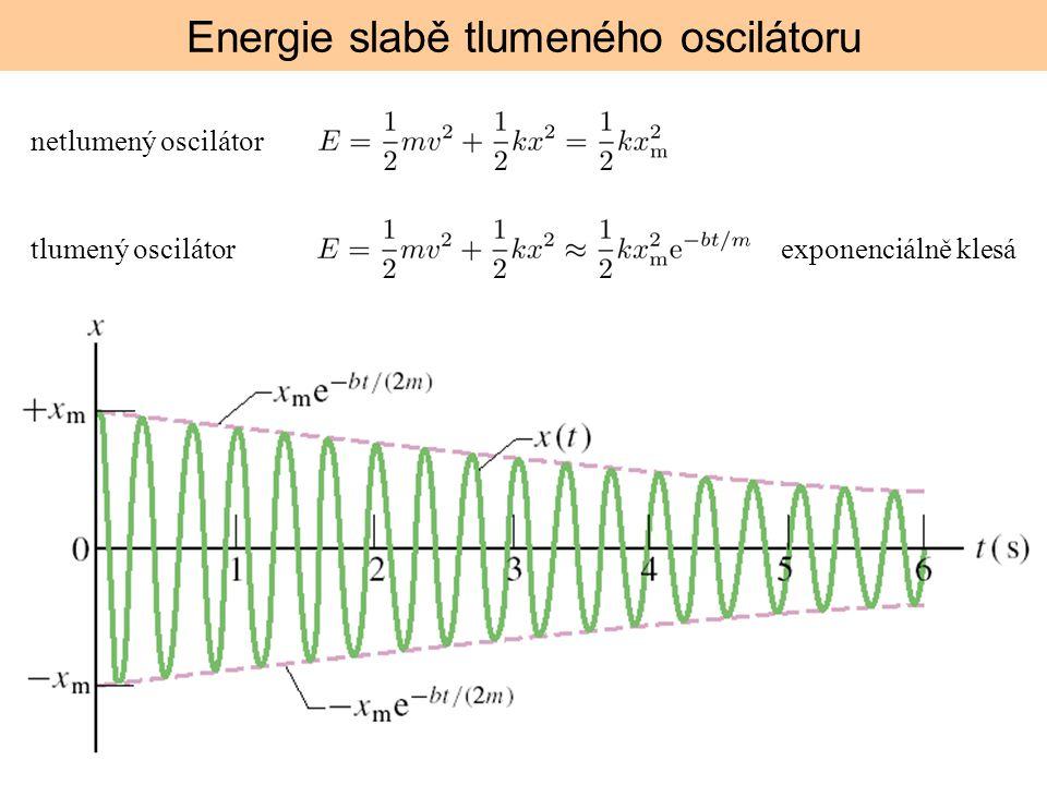 Energie slabě tlumeného oscilátoru netlumený oscilátor tlumený oscilátorexponenciálně klesá