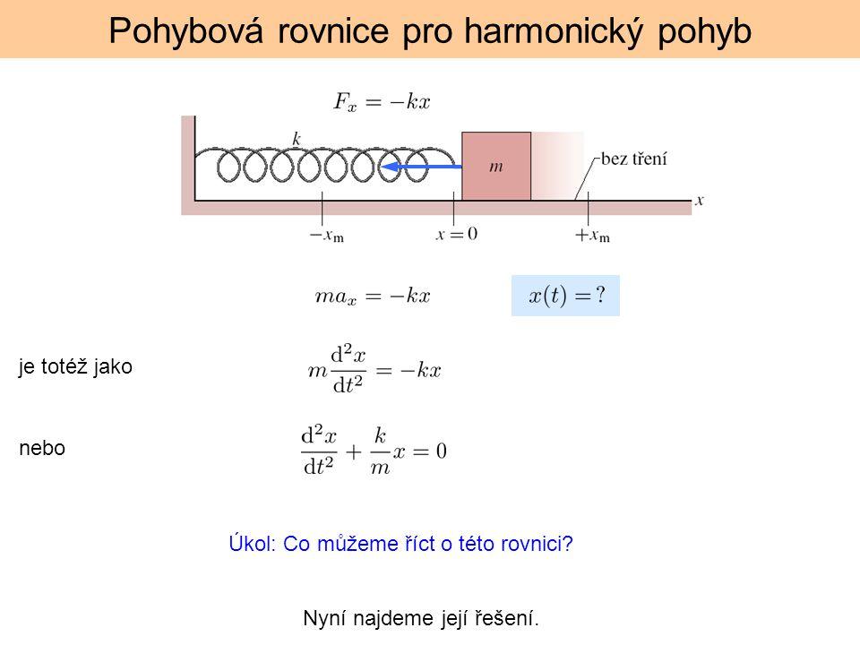 Pohybová rovnice pro harmonický pohyb je totéž jako nebo Úkol: Co můžeme říct o této rovnici.
