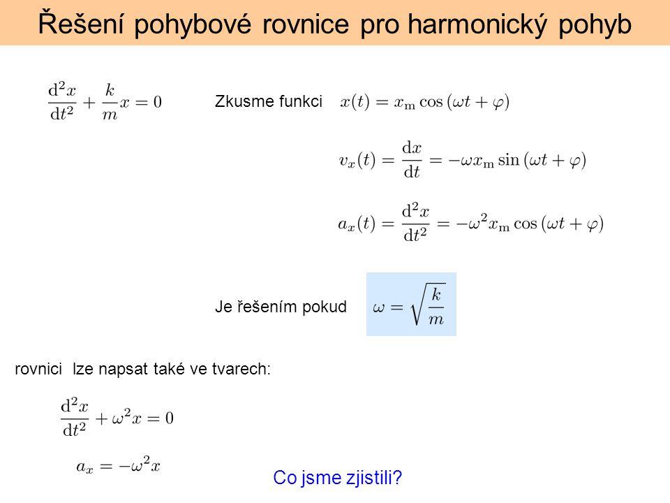 Řešení pohybové rovnice pro harmonický pohyb Zkusme funkci Je řešením pokud rovnici lze napsat také ve tvarech: Co jsme zjistili?