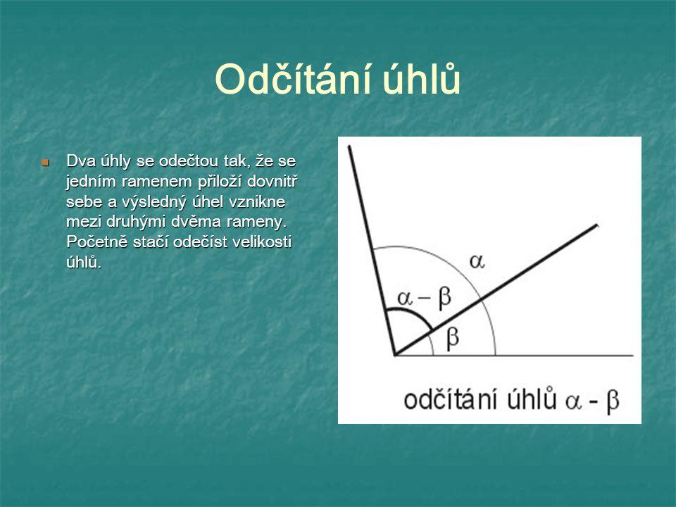 Odčítání úhlů Dva úhly se odečtou tak, že se jedním ramenem přiloží dovnitř sebe a výsledný úhel vznikne mezi druhými dvěma rameny. Početně stačí odeč
