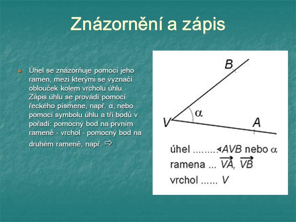 Znázornění a zápis Úhel se znázorňuje pomocí jeho ramen, mezi kterými se vyznačí oblouček kolem vrcholu úhlu. Zápis úhlu se provádí pomocí řeckého pís