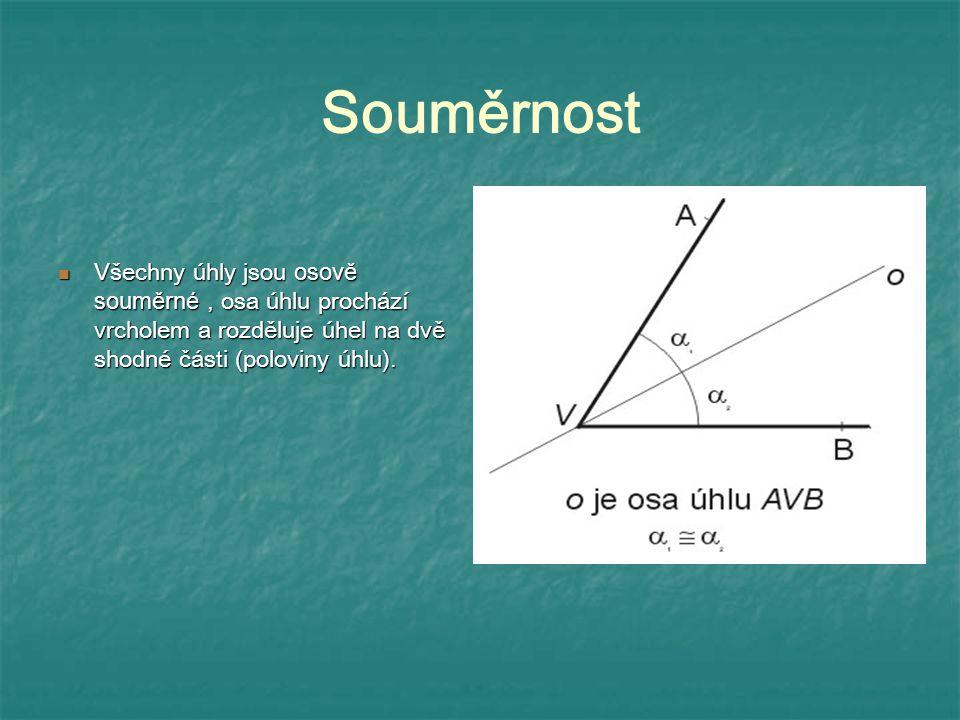 Souměrnost Všechny úhly jsou osově souměrné, osa úhlu prochází vrcholem a rozděluje úhel na dvě shodné části (poloviny úhlu). Všechny úhly jsou osově