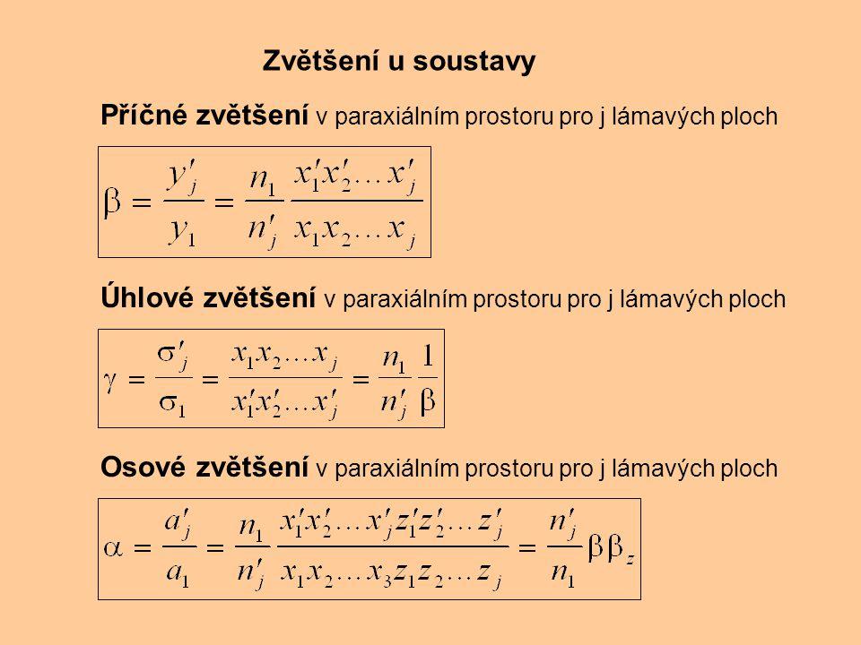 Zvětšení u soustavy Příčné zvětšení v paraxiálním prostoru pro j lámavých ploch Úhlové zvětšení v paraxiálním prostoru pro j lámavých ploch Osové zvět