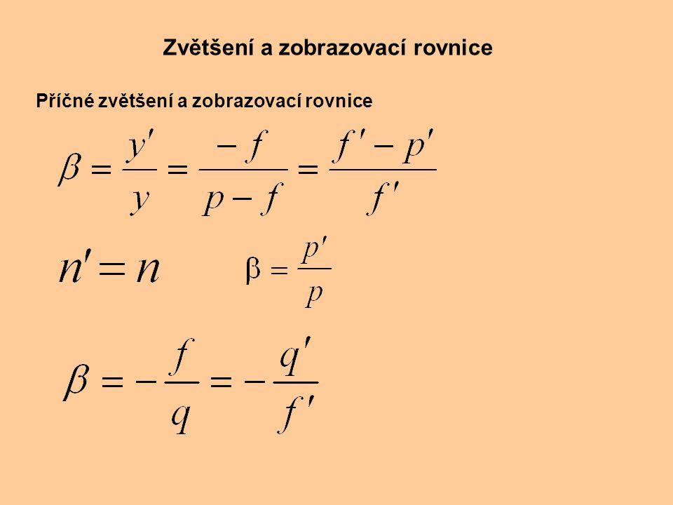 Zvětšení a zobrazovací rovnice Příčné zvětšení a zobrazovací rovnice