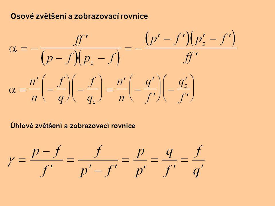 Osové zvětšení a zobrazovací rovnice Úhlové zvětšení a zobrazovací rovnice