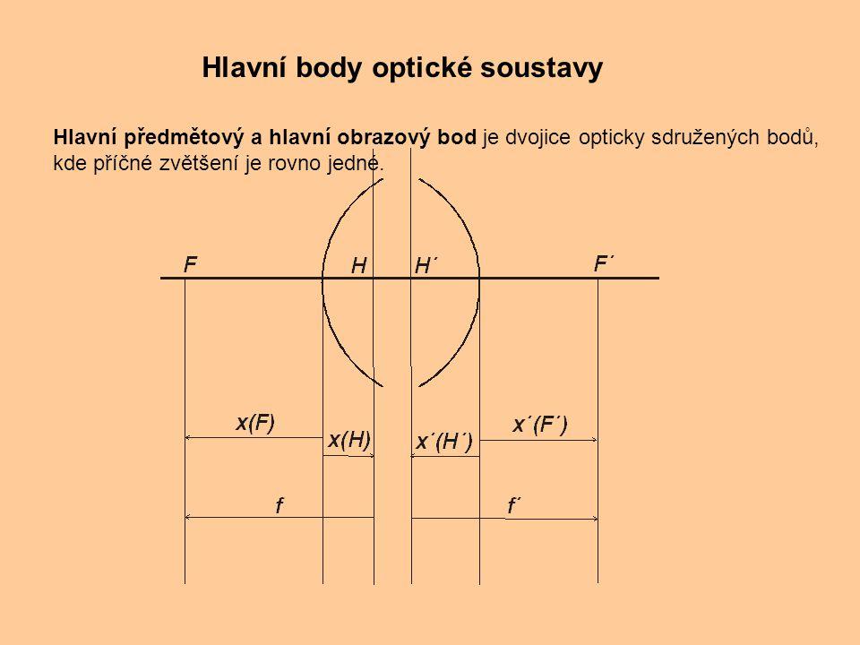 Hlavní body optické soustavy Hlavní předmětový a hlavní obrazový bod je dvojice opticky sdružených bodů, kde příčné zvětšení je rovno jedné.