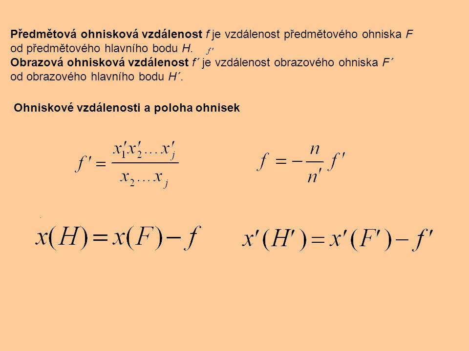 Předmětová ohnisková vzdálenost f je vzdálenost předmětového ohniska F od předmětového hlavního bodu H. Obrazová ohnisková vzdálenost f´ je vzdálenost