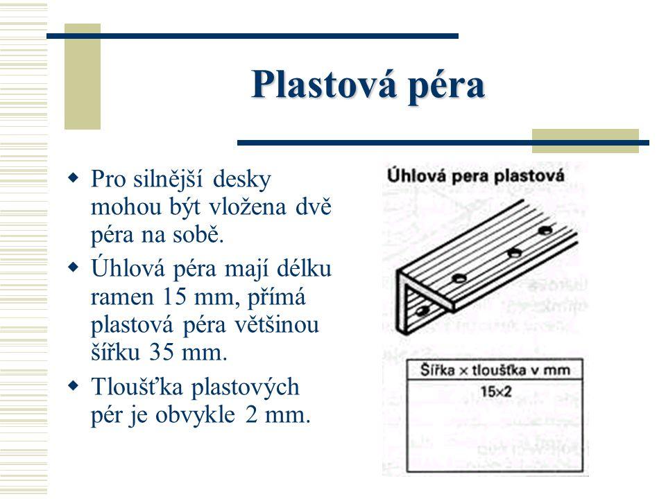 Plastová péra PP lastová péra mají pro lepší spojení drážky a otvory pro lepidlo. EE xistují jako úhlová péra pro 90°a 45° i jako přímá péra pro t