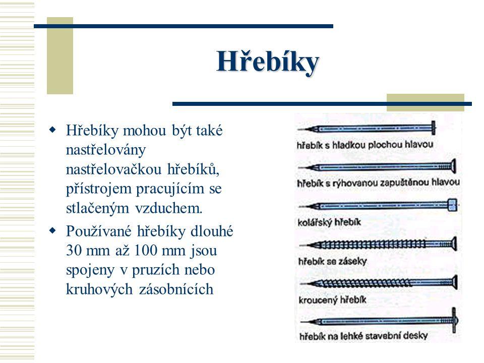 Hřebíky HH řebíky se prodávají na váhu. Hmotnost balíků hřebíků je podle jejich velikosti mezi 1 kg a 10 kg. Balíky jsou označeny bílou či barevnou
