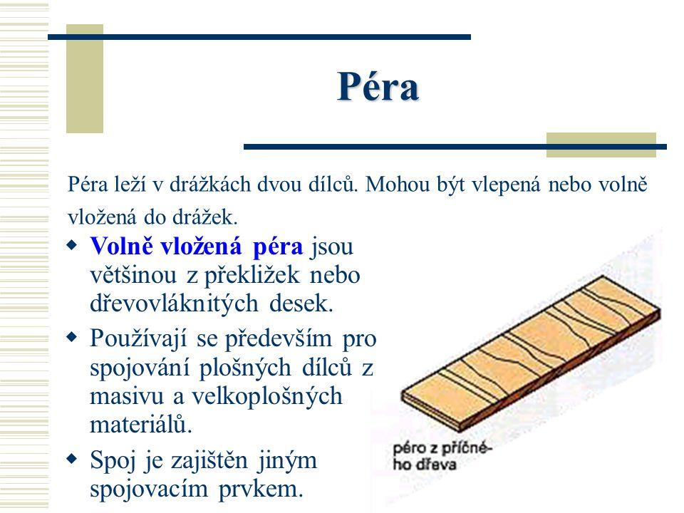 Spojovací prostředky Spojovací prostředky dělí dřevěné, kovové a plastové. DD řevěné spojovací prostředky: dřevěná pera, dřevěné lamely a dřevěné ko