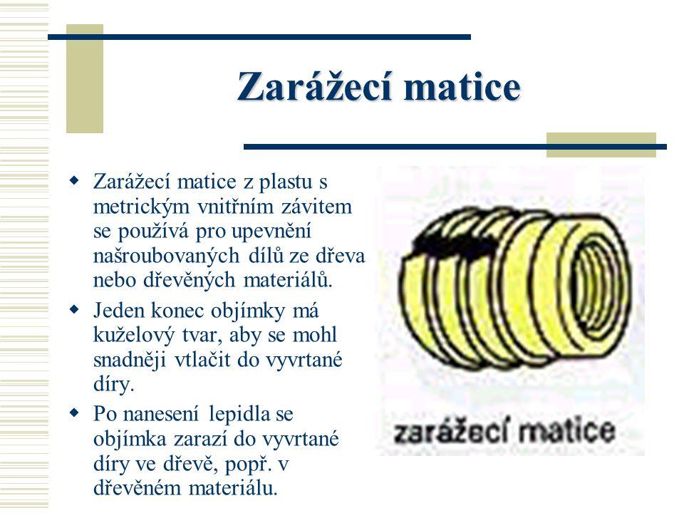 Závrtná matice ZZ ávrtná matice je z oceli, mosazi nebo slitin hliníku, má uvnitř metrický závit, vně závit do dřeva a na jednom konci axiální drážk