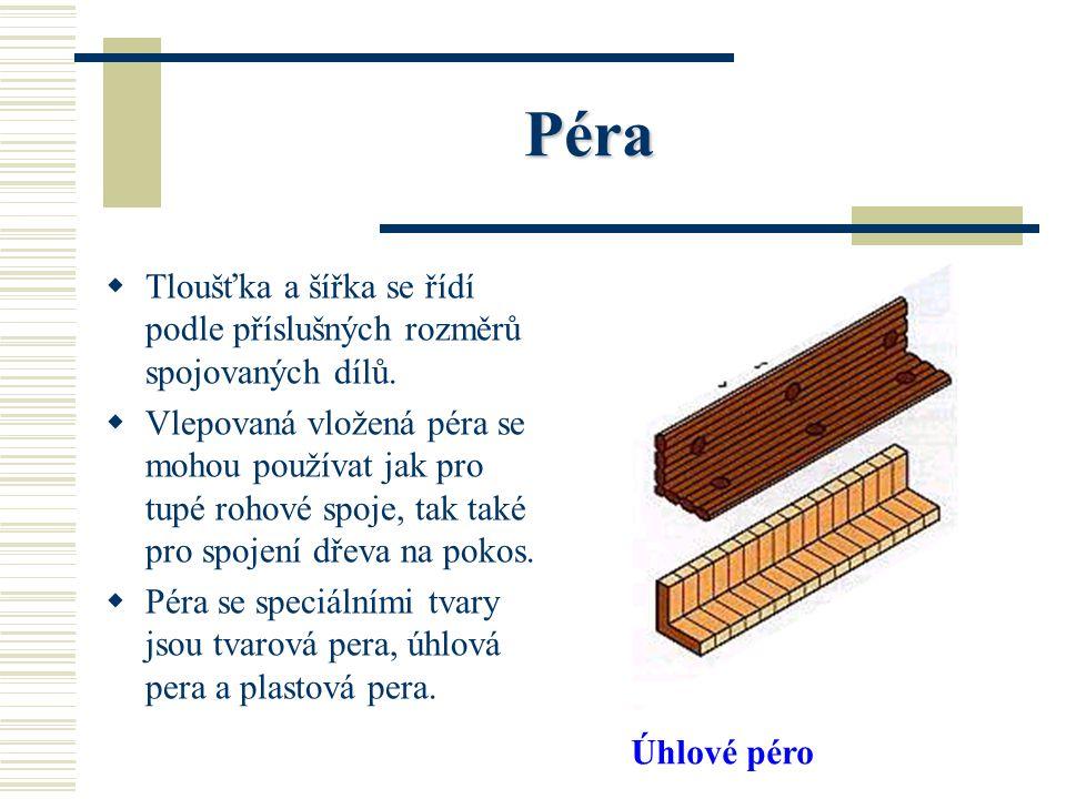 Péra VV lepená péra mohou být vyrobena z masivního dřeva, překližek, tvrdých dřevovláknitých desek nebo plastu. PP oužitím péra se lepená plocha s