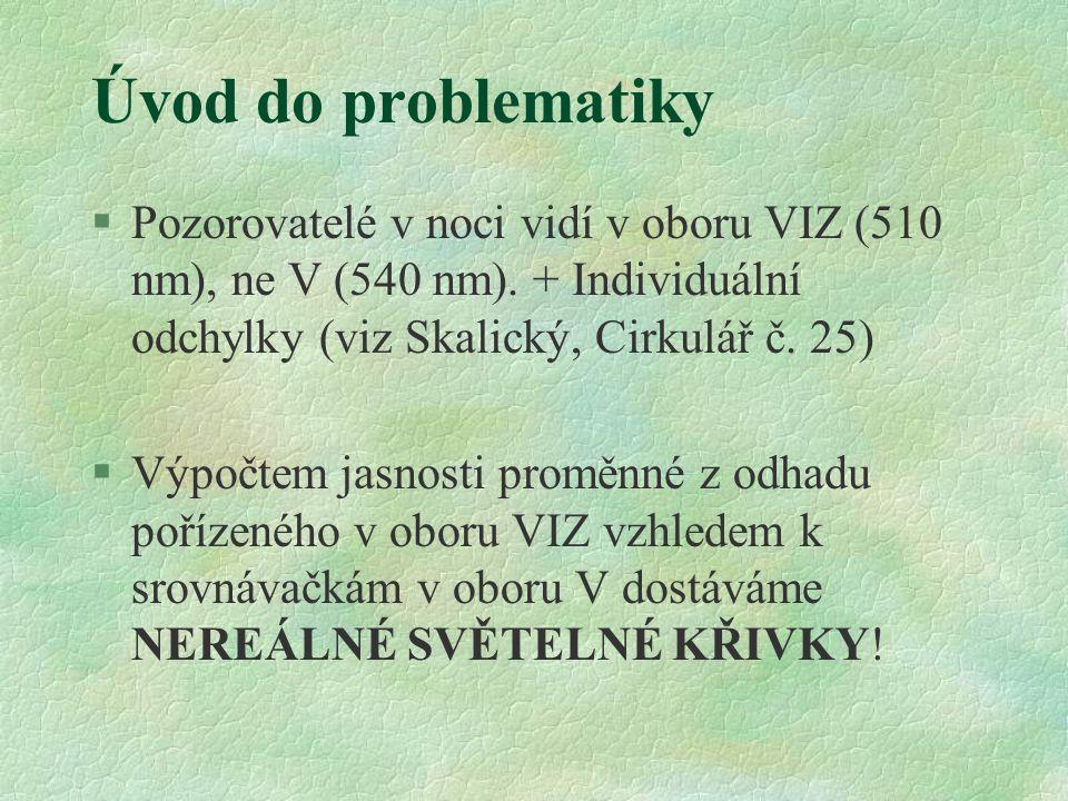 Úvod do problematiky §Pozorovatelé v noci vidí v oboru VIZ (510 nm), ne V (540 nm). + Individuální odchylky (viz Skalický, Cirkulář č. 25) §Výpočtem j