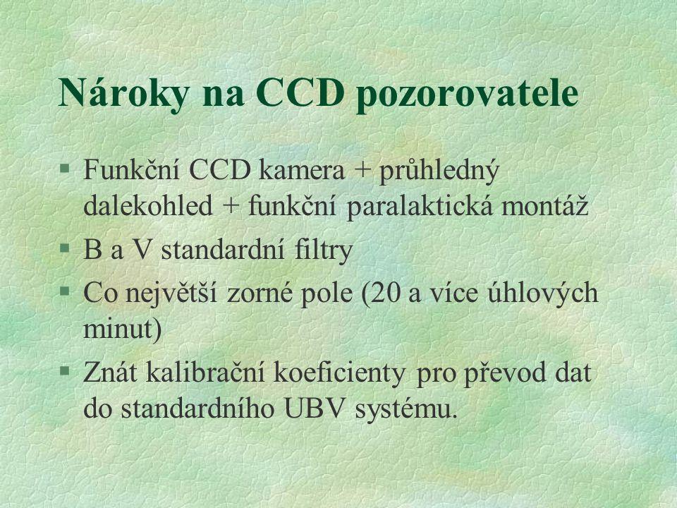 Nároky na CCD pozorovatele §Funkční CCD kamera + průhledný dalekohled + funkční paralaktická montáž §B a V standardní filtry §Co největší zorné pole (