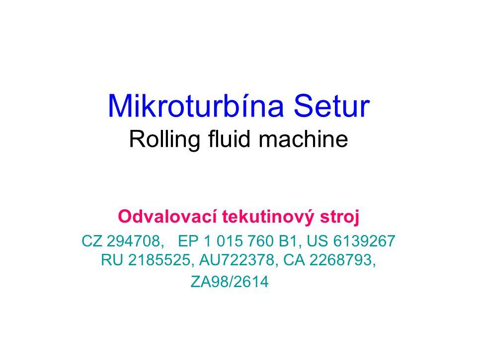 Mikroturbína Setur Rolling fluid machine Odvalovací tekutinový stroj CZ 294708, EP 1 015 760 B1, US 6139267 RU 2185525, AU722378, CA 2268793, ZA98/2614