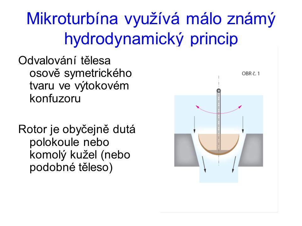 Mikroturbína využívá málo známý hydrodynamický princip Odvalování tělesa osově symetrického tvaru ve výtokovém konfuzoru Rotor je obyčejně dutá poloko
