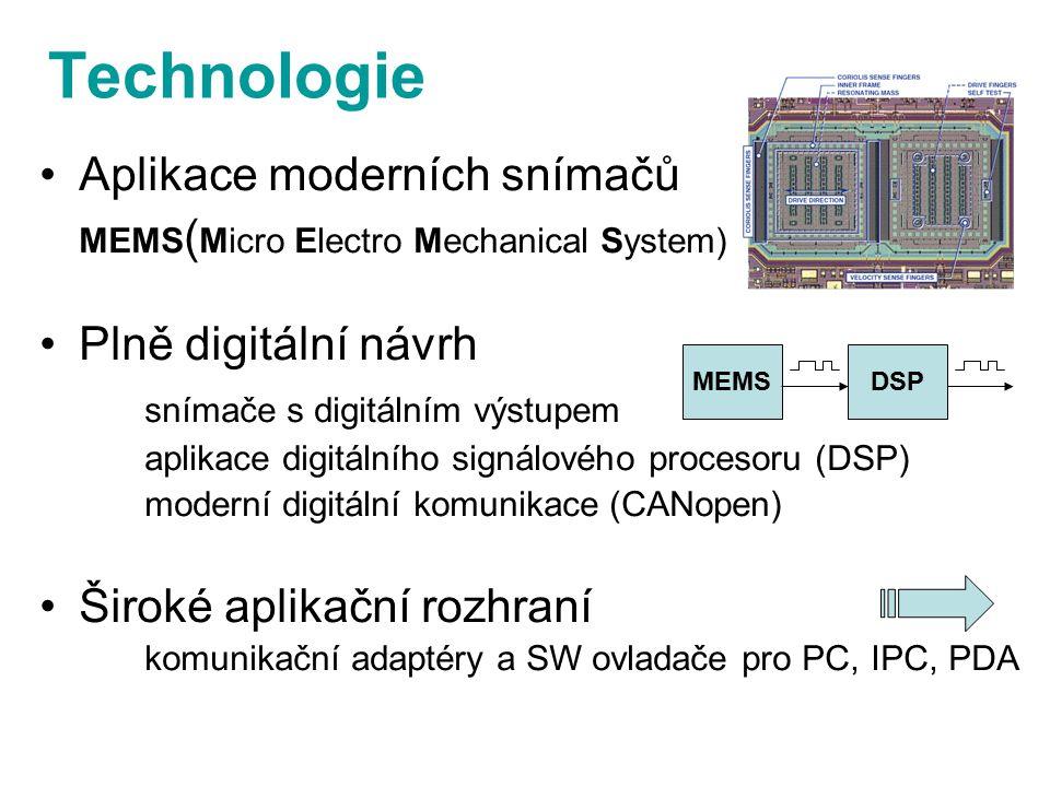 Technologie Aplikace moderních snímačů MEMS ( Micro Electro Mechanical System) Plně digitální návrh snímače s digitálním výstupem aplikace digitálního signálového procesoru (DSP) moderní digitální komunikace (CANopen) Široké aplikační rozhraní komunikační adaptéry a SW ovladače pro PC, IPC, PDA DSPMEMS